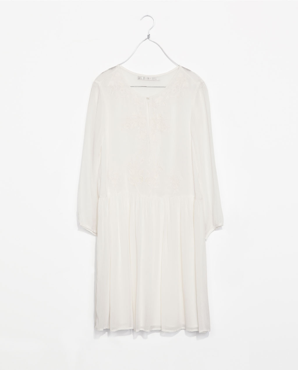 Embroidered Dress - style: shift; neckline: round neck; pattern: plain; predominant colour: white; occasions: casual, holiday; length: just above the knee; fit: straight cut; fibres: viscose/rayon - 100%; sleeve length: 3/4 length; sleeve style: standard; pattern type: fabric; texture group: other - light to midweight; embellishment: embroidered; season: s/s 2014; wardrobe: highlight; embellishment location: bust