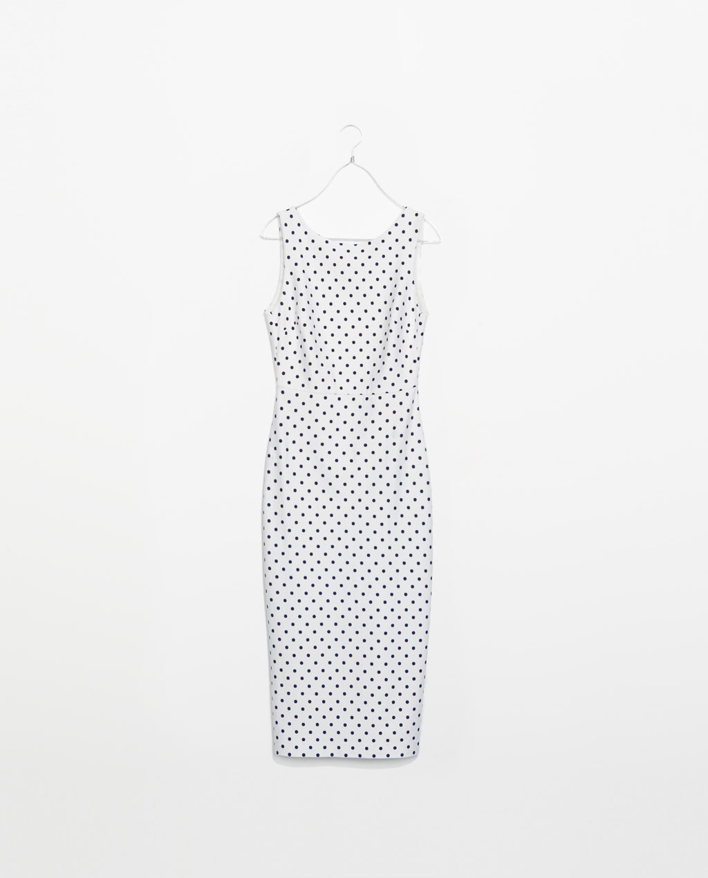 Dress With Low Cut Back - neckline: round neck; fit: tight; sleeve style: sleeveless; style: bodycon; back detail: back revealing; pattern: polka dot; predominant colour: white; secondary colour: black; occasions: casual, evening, occasion, holiday; length: on the knee; fibres: viscose/rayon - 100%; sleeve length: sleeveless; texture group: jersey - clingy; pattern type: fabric; pattern size: standard; season: s/s 2014