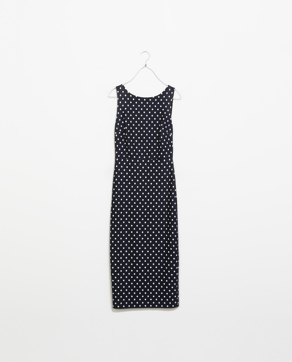 Dress With Low Cut Back - neckline: round neck; fit: tight; sleeve style: sleeveless; style: bodycon; back detail: back revealing; pattern: polka dot; secondary colour: ivory/cream; predominant colour: black; occasions: casual, evening, creative work; length: on the knee; fibres: viscose/rayon - 100%; sleeve length: sleeveless; texture group: jersey - clingy; pattern type: fabric; pattern size: standard; season: s/s 2014