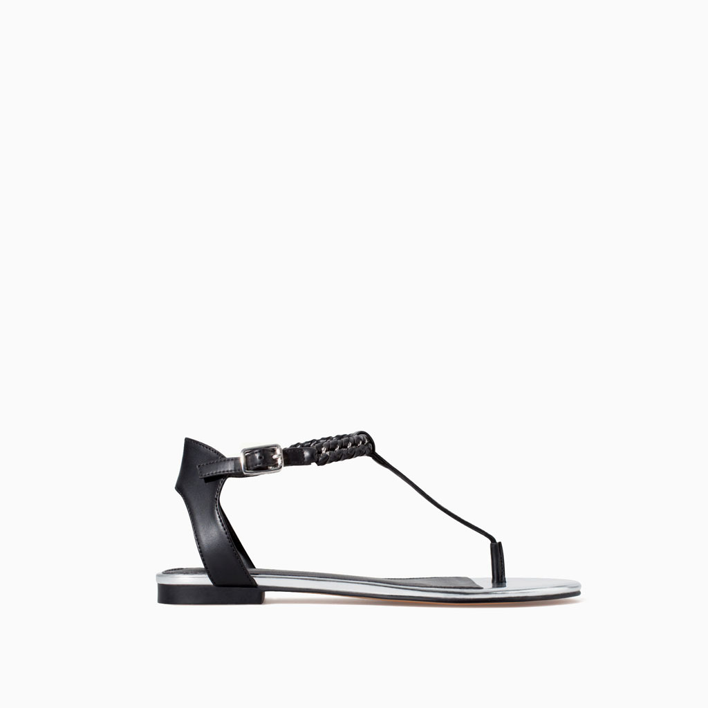 Sandal With Chain Detail - predominant colour: black; occasions: casual, holiday, creative work; material: faux leather; heel height: flat; ankle detail: ankle strap; heel: standard; toe: open toe/peeptoe; style: strappy; finish: plain; pattern: plain; season: s/s 2014