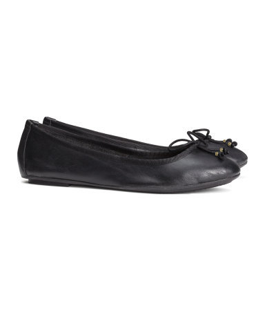 Leather Ballet Pumps - predominant colour: black; occasions: casual, work, holiday, creative work; material: leather; heel height: flat; toe: round toe; style: ballerinas / pumps; finish: plain; pattern: plain; season: s/s 2014