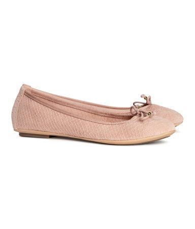 Leather Ballet Pumps - predominant colour: blush; occasions: casual, work, holiday, creative work; material: leather; heel height: flat; toe: round toe; style: ballerinas / pumps; finish: plain; pattern: plain; season: s/s 2014