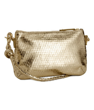 Leather Shoulder Bag - predominant colour: gold; occasions: evening, occasion, holiday; type of pattern: standard; style: shoulder; length: shoulder (tucks under arm); size: small; material: leather; pattern: plain; finish: metallic; trends: summer sparkle, shimmery metallics; season: s/s 2014