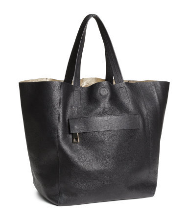 Leather Shopper - predominant colour: black; occasions: casual, work, creative work; type of pattern: standard; style: tote; length: shoulder (tucks under arm); size: oversized; material: leather; pattern: plain; finish: plain; season: s/s 2014