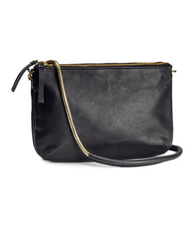 Leather Shoulder Bag - predominant colour: black; occasions: casual, evening, work, creative work; type of pattern: standard; style: shoulder; length: shoulder (tucks under arm); size: small; material: leather; pattern: plain; finish: plain; season: s/s 2014