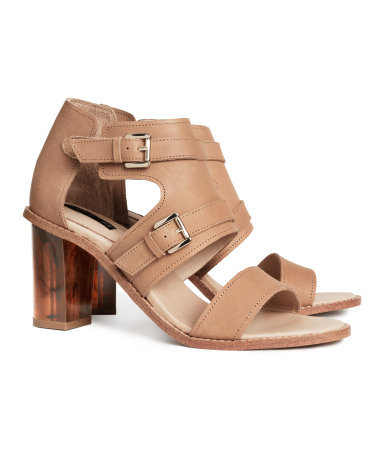 Leather Sandals - predominant colour: camel; occasions: casual, creative work; material: leather; heel height: high; embellishment: buckles; ankle detail: ankle strap; heel: block; toe: open toe/peeptoe; style: strappy; finish: plain; pattern: plain; season: s/s 2014