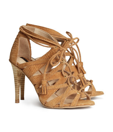 Suede Sandals - predominant colour: camel; occasions: casual, evening, holiday, creative work; material: suede; heel height: high; embellishment: tassels; ankle detail: ankle strap; heel: stiletto; toe: open toe/peeptoe; style: strappy; finish: plain; pattern: plain; season: s/s 2014