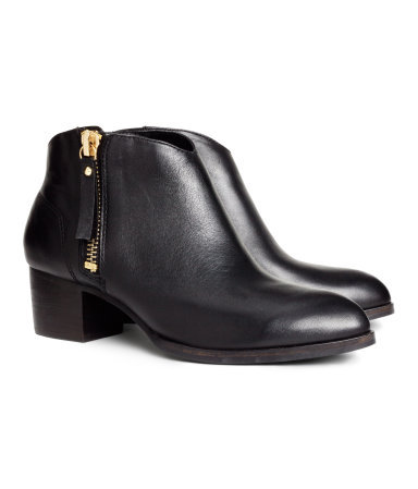 Leather Boots - predominant colour: black; occasions: casual, creative work; material: leather; heel height: mid; heel: standard; toe: round toe; boot length: ankle boot; style: standard; finish: plain; pattern: plain; season: s/s 2014