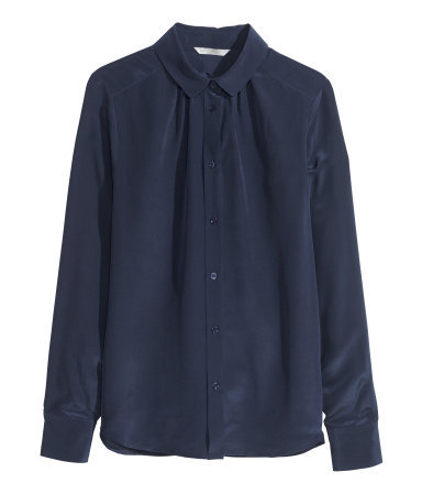 Silk Blouse - neckline: shirt collar/peter pan/zip with opening; pattern: plain; style: blouse; predominant colour: navy; occasions: casual, evening, work, creative work; length: standard; fibres: silk - 100%; fit: straight cut; sleeve length: long sleeve; sleeve style: standard; texture group: silky - light; pattern type: fabric; season: s/s 2014