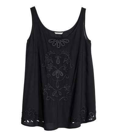 + Sleeveless Top - sleeve style: standard vest straps/shoulder straps; pattern: plain; style: vest top; predominant colour: black; occasions: casual, holiday, creative work; length: standard; neckline: scoop; fibres: viscose/rayon - 100%; fit: loose; sleeve length: sleeveless; pattern type: fabric; texture group: other - light to midweight; embellishment: embroidered; season: s/s 2014