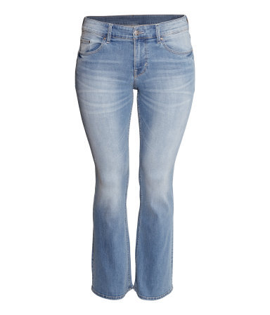 + Boot Cut Low Jeans - style: bootcut; length: standard; pattern: plain; pocket detail: traditional 5 pocket; waist: mid/regular rise; predominant colour: pale blue; occasions: casual, creative work; fibres: cotton - stretch; jeans detail: whiskering, shading down centre of thigh, washed/faded; texture group: denim; pattern type: fabric; season: s/s 2014