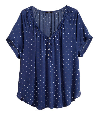 + Satin Blouse - neckline: v-neck; style: blouse; pattern: polka dot; bust detail: buttons at bust (in middle at breastbone)/zip detail at bust; secondary colour: white; predominant colour: navy; occasions: casual, work, holiday, creative work; length: standard; fibres: polyester/polyamide - 100%; fit: straight cut; sleeve length: short sleeve; sleeve style: standard; texture group: structured shiny - satin/tafetta/silk etc.; pattern type: fabric; season: s/s 2014