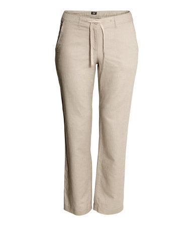 + Linen Mix Trousers - length: standard; pattern: plain; waist detail: belted waist/tie at waist/drawstring; waist: mid/regular rise; predominant colour: stone; occasions: casual, holiday; fibres: linen - mix; texture group: linen; fit: straight leg; pattern type: fabric; style: standard; season: s/s 2014
