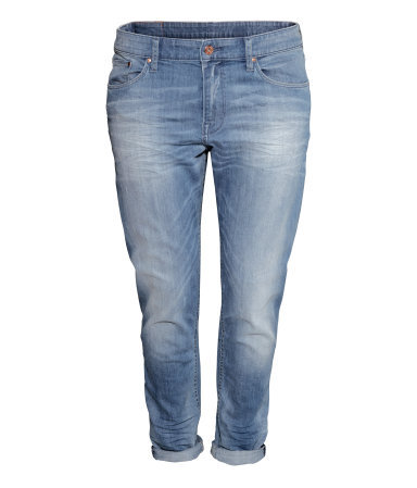 + Boyfriend Low Jeans - pattern: plain; waist: low rise; pocket detail: traditional 5 pocket; style: slim leg; predominant colour: denim; occasions: casual, creative work; length: ankle length; fibres: cotton - stretch; jeans detail: whiskering, shading down centre of thigh, washed/faded; jeans & bottoms detail: turn ups; texture group: denim; pattern type: fabric; season: s/s 2014