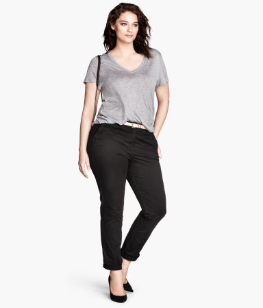 + Chinos - pattern: plain; waist: mid/regular rise; predominant colour: black; occasions: casual, work, creative work; length: ankle length; style: chino; fibres: cotton - stretch; fit: slim leg; pattern type: fabric; texture group: woven light midweight; season: s/s 2014