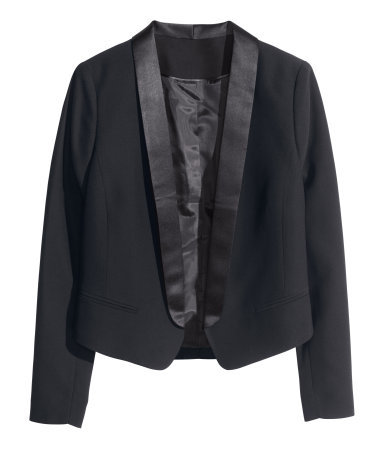 Dinner Jacket - pattern: plain; style: single breasted tuxedo; collar: shawl/waterfall; predominant colour: black; occasions: evening, work, occasion; length: standard; fit: tailored/fitted; fibres: polyester/polyamide - 100%; sleeve length: long sleeve; sleeve style: standard; collar break: low/open; pattern type: fabric; texture group: other - light to midweight; season: s/s 2014