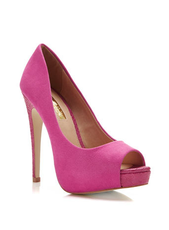 Gwen Peep Toe - predominant colour: hot pink; occasions: evening, occasion; heel height: high; heel: stiletto; toe: open toe/peeptoe; style: courts; finish: plain; pattern: plain; material: faux suede; shoe detail: platform; season: s/s 2014