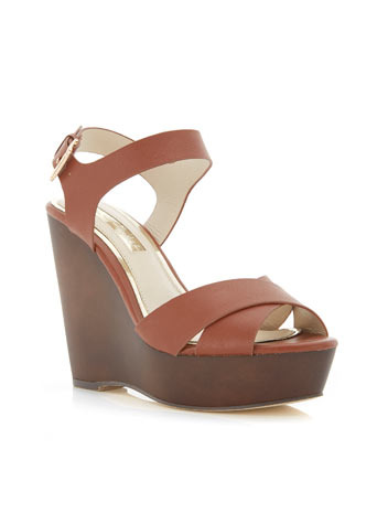 Margate Wedge - secondary colour: chocolate brown; predominant colour: tan; occasions: casual, creative work; material: faux leather; ankle detail: ankle strap; heel: wedge; toe: open toe/peeptoe; style: strappy; finish: plain; pattern: plain; heel height: very high; shoe detail: platform; season: s/s 2014