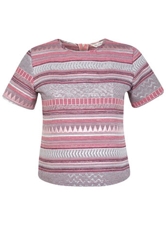Jacquard T Shirt - style: t-shirt; predominant colour: stone; occasions: casual, evening, occasion, creative work; length: standard; fibres: cotton - mix; fit: straight cut; neckline: crew; sleeve length: short sleeve; sleeve style: standard; pattern type: fabric; pattern size: standard; pattern: patterned/print; texture group: brocade/jacquard; secondary colour: dusky pink; trends: world traveller; season: s/s 2014