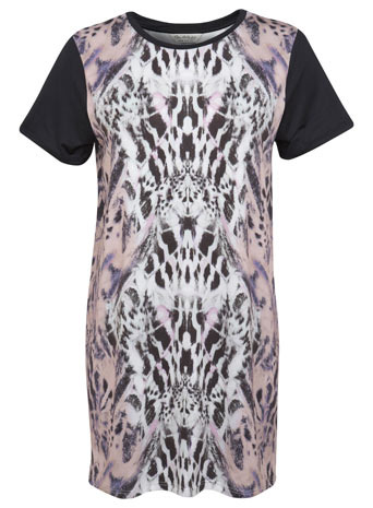 Pastel Animal Tunic - neckline: round neck; style: t-shirt; secondary colour: blush; predominant colour: black; occasions: casual, evening, creative work; fibres: polyester/polyamide - stretch; fit: loose; length: mid thigh; sleeve length: short sleeve; sleeve style: standard; pattern type: fabric; pattern: animal print; texture group: jersey - stretchy/drapey; season: s/s 2014; pattern size: big & busy (top)