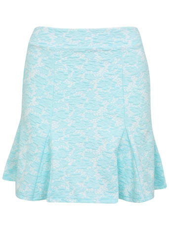 Petites Lace Peplum Skirt - length: mid thigh; fit: tailored/fitted; waist: mid/regular rise; predominant colour: pale blue; occasions: evening, occasion, holiday, creative work; style: fit & flare; fibres: polyester/polyamide - mix; texture group: lace; pattern type: fabric; pattern: patterned/print; trends: sorbet shades, lace; season: s/s 2014