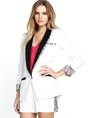 Blazer, Cream - style: single breasted tuxedo; collar: standard lapel/rever collar; predominant colour: white; secondary colour: black; occasions: evening, work, occasion, creative work; length: standard; fit: tailored/fitted; fibres: viscose/rayon - 100%; sleeve length: 3/4 length; sleeve style: standard; texture group: cotton feel fabrics; collar break: medium; pattern type: fabric; pattern size: standard; pattern: colourblock; trends: sorbet shades; season: s/s 2014