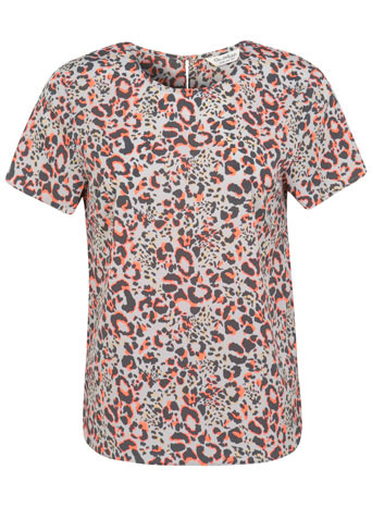 Neon Animal Printed Tee - neckline: round neck; secondary colour: coral; predominant colour: light grey; occasions: casual, evening, occasion, creative work; length: standard; style: top; fibres: polyester/polyamide - 100%; fit: straight cut; sleeve length: short sleeve; sleeve style: standard; pattern type: fabric; pattern size: standard; pattern: animal print; texture group: other - light to midweight; season: s/s 2014