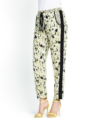 Tropicana Check Trousers, Black - waist detail: belted waist/tie at waist/drawstring; waist: mid/regular rise; predominant colour: ivory/cream; secondary colour: black; occasions: casual, evening, holiday, creative work; length: ankle length; fit: tapered; pattern type: fabric; pattern: florals; texture group: other - light to midweight; style: standard; fibres: viscose/rayon - mix; trends: furious florals; season: s/s 2014; pattern size: standard (bottom)