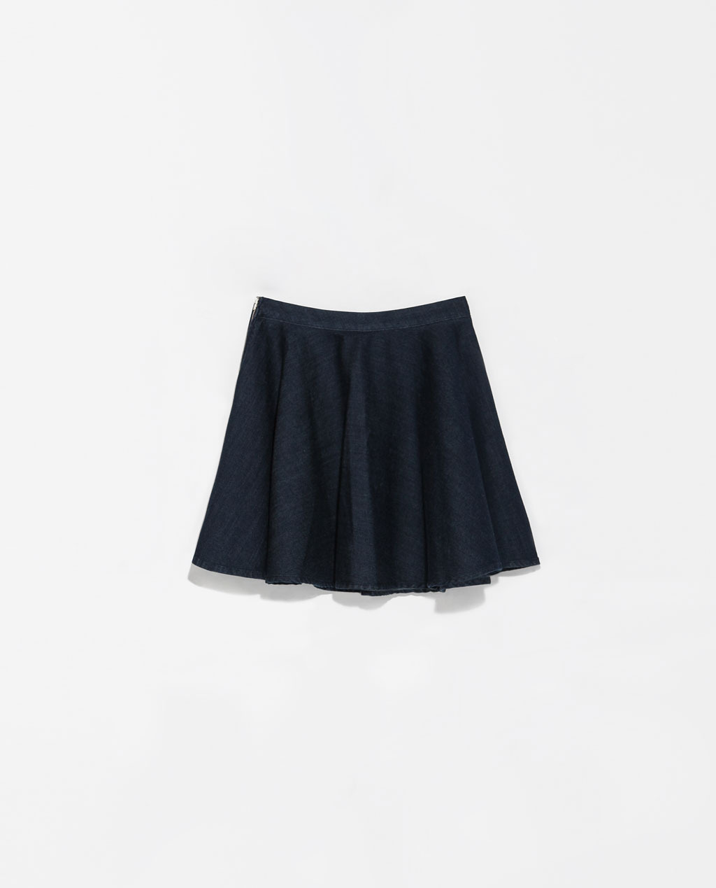 Denim Miniskirt - length: mini; pattern: plain; fit: loose/voluminous; waist: mid/regular rise; predominant colour: denim; occasions: casual, evening, holiday, creative work; style: mini skirt; fibres: cotton - mix; texture group: denim; pattern type: fabric; season: s/s 2014