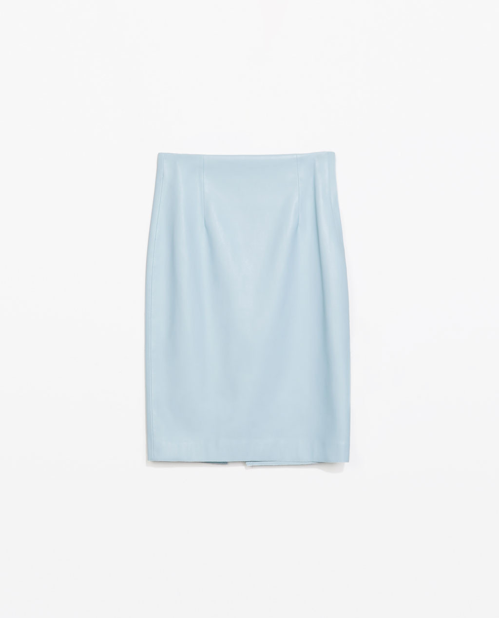 Faux Leather Tube Skirt - pattern: plain; fit: tailored/fitted; waist: mid/regular rise; predominant colour: pale blue; occasions: casual, evening, holiday, creative work; length: on the knee; fibres: polyester/polyamide - 100%; style: tube; texture group: leather; pattern type: fabric; trends: sorbet shades; season: s/s 2014