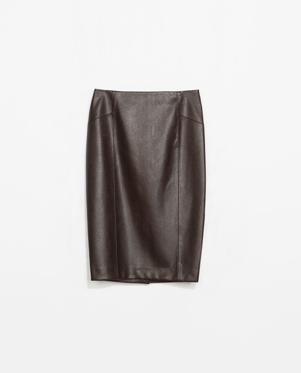 Snakeskin Pencil Skirt - pattern: plain; style: pencil; fit: tailored/fitted; waist: high rise; predominant colour: black; occasions: casual, evening, work, creative work; length: on the knee; fibres: viscose/rayon - 100%; texture group: leather; pattern type: fabric; season: s/s 2014
