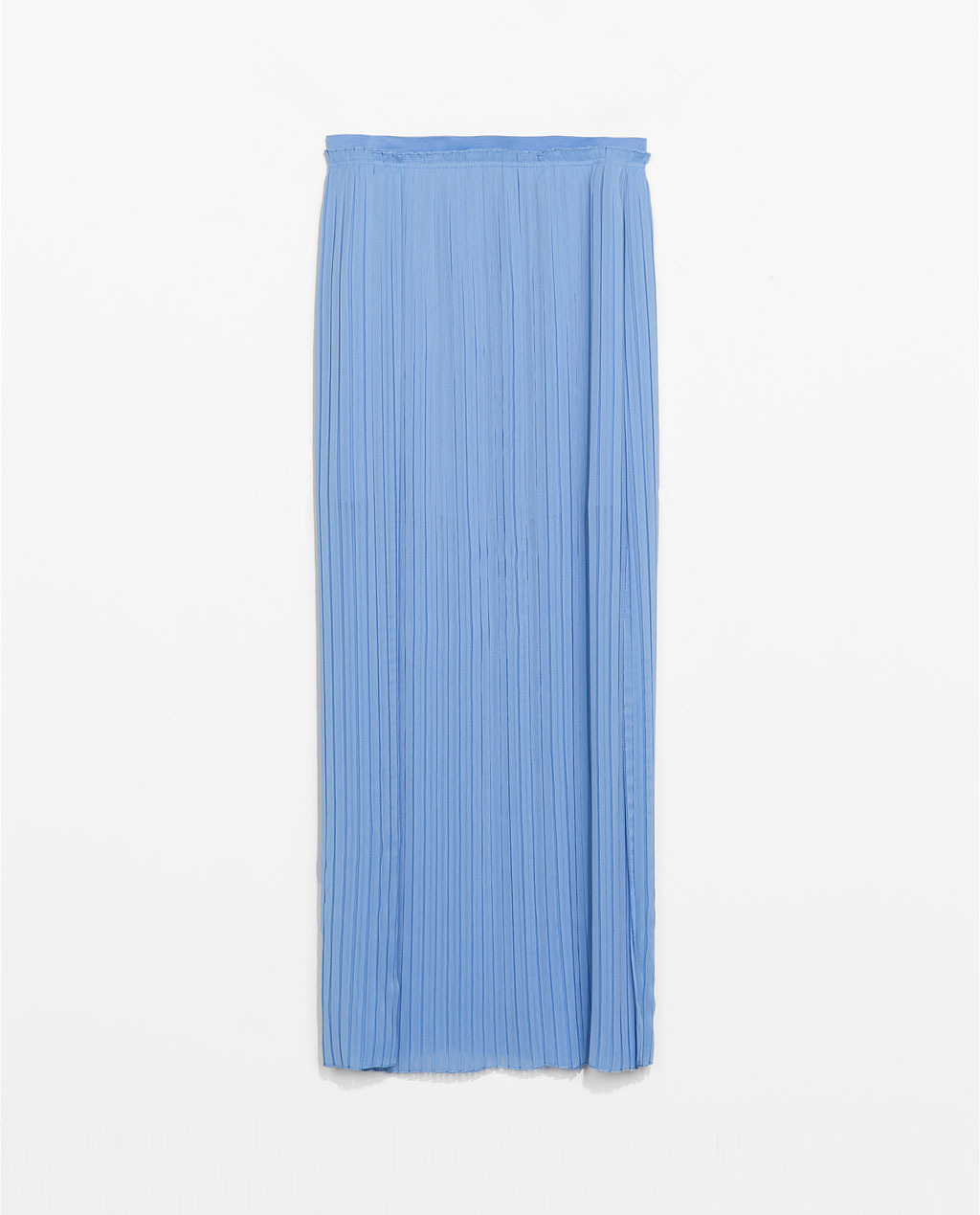 Long Fine Pleat Skirt - pattern: plain; waist: mid/regular rise; predominant colour: pale blue; occasions: casual, occasion, holiday; length: floor length; style: maxi skirt; fibres: polyester/polyamide - 100%; hip detail: adds bulk at the hips; texture group: sheer fabrics/chiffon/organza etc.; fit: straight cut; pattern type: fabric; trends: sorbet shades, powerful pleats; season: s/s 2014