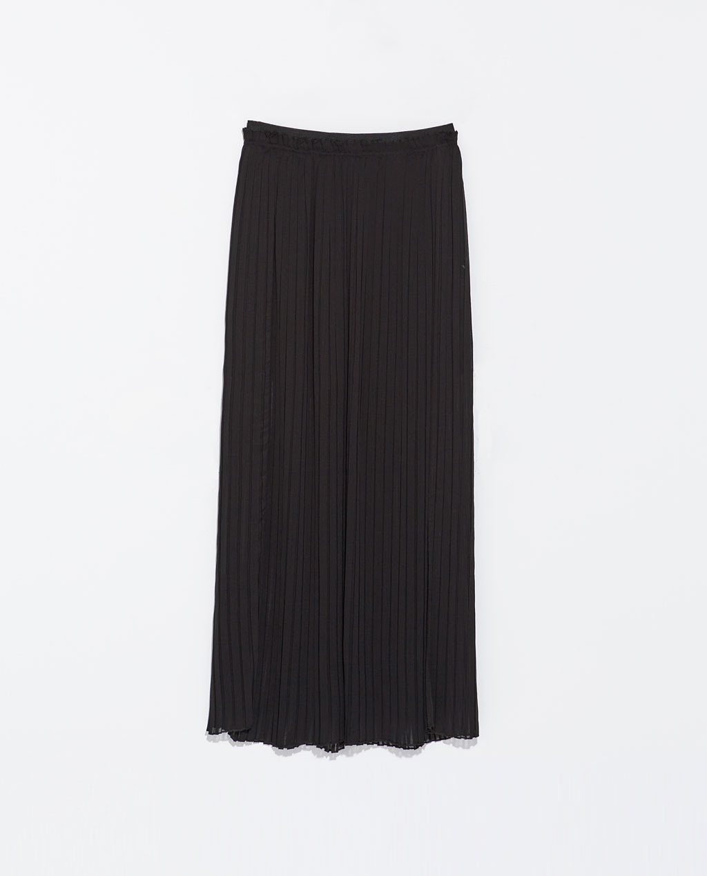 Long Fine Pleat Skirt - pattern: plain; waist: mid/regular rise; predominant colour: black; occasions: casual, evening, holiday; length: floor length; style: maxi skirt; fibres: polyester/polyamide - 100%; hip detail: structured pleats at hip; texture group: sheer fabrics/chiffon/organza etc.; fit: straight cut; pattern type: fabric; trends: powerful pleats, sheer; season: s/s 2014