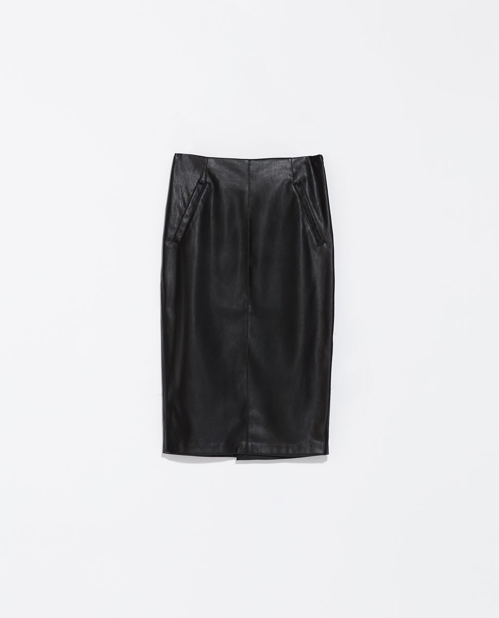 Faux Leather Pencil Skirt With Pockets - pattern: plain; style: pencil; fit: tailored/fitted; waist: high rise; predominant colour: black; occasions: evening, creative work; length: on the knee; texture group: leather; pattern type: fabric; fibres: pvc/polyurethene - 100%; season: s/s 2014