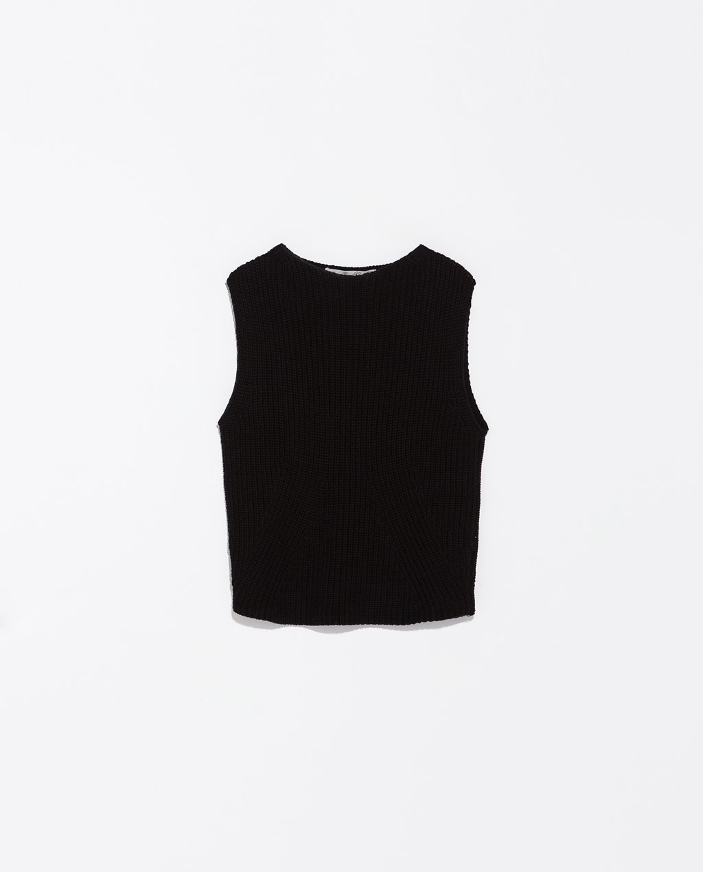 Pearl Knit Top - neckline: round neck; pattern: plain; sleeve style: sleeveless; length: cropped; predominant colour: black; occasions: casual, evening; style: top; fibres: cotton - 100%; fit: straight cut; sleeve length: sleeveless; texture group: knits/crochet; pattern type: knitted - other; season: s/s 2014