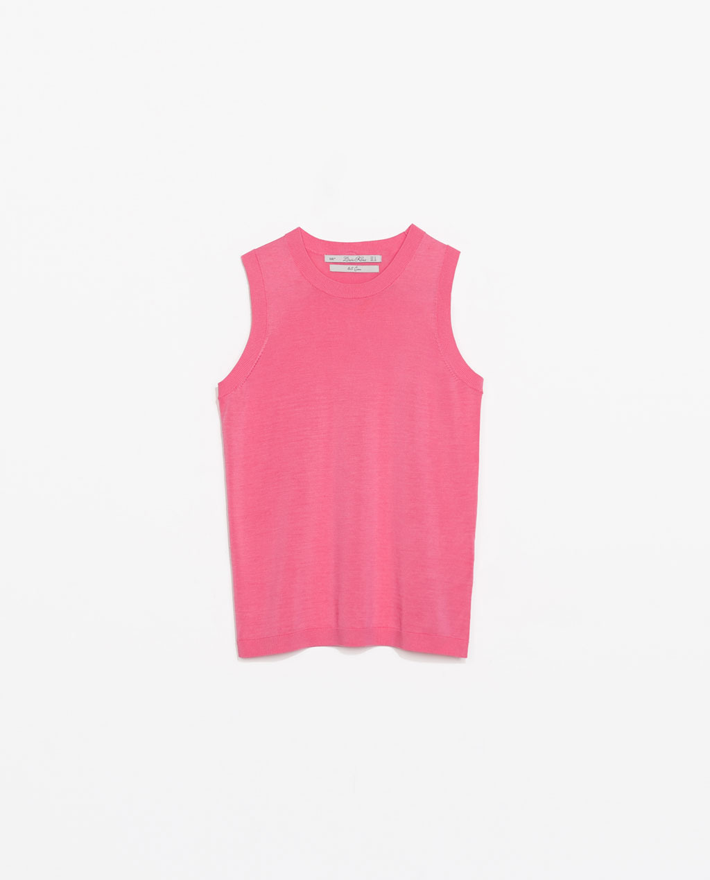 Silk Knit Tank Top - pattern: plain; sleeve style: sleeveless; style: vest top; occasions: casual; length: standard; fibres: silk - mix; fit: body skimming; neckline: crew; sleeve length: sleeveless; texture group: knits/crochet; pattern type: knitted - fine stitch; predominant colour: dusky pink; trends: sorbet shades; season: s/s 2014