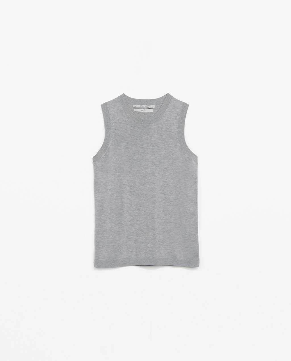 Silk Knit Tank Top - pattern: plain; sleeve style: sleeveless; style: vest top; predominant colour: mid grey; occasions: casual; length: standard; fibres: silk - mix; fit: body skimming; neckline: crew; sleeve length: sleeveless; texture group: knits/crochet; pattern type: knitted - fine stitch; season: s/s 2014