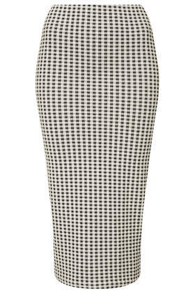 Tall Monochrome Gingham Tube Skirt - length: below the knee; pattern: checked/gingham; fit: tight; waist: high rise; predominant colour: white; secondary colour: black; occasions: casual, holiday, creative work; fibres: cotton - 100%; style: tube; pattern type: fabric; texture group: jersey - stretchy/drapey; season: s/s 2014; pattern size: light/subtle (bottom)