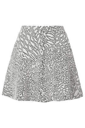 Petite Jacquard Skater Skirt - length: mini; fit: loose/voluminous; waist: high rise; secondary colour: charcoal; predominant colour: light grey; occasions: casual, holiday; style: mini skirt; fibres: cotton - stretch; pattern type: fabric; pattern: animal print; texture group: brocade/jacquard; season: s/s 2014