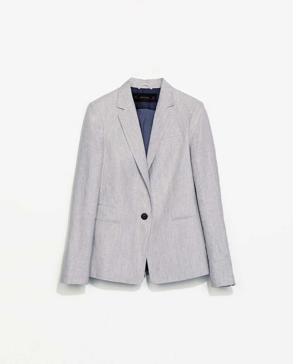 Linen Blazer - pattern: plain; style: single breasted blazer; collar: standard lapel/rever collar; predominant colour: light grey; occasions: evening, work, occasion, creative work; length: standard; fit: tailored/fitted; fibres: linen - 100%; sleeve length: long sleeve; sleeve style: standard; texture group: linen; collar break: medium; pattern type: fabric; season: s/s 2014