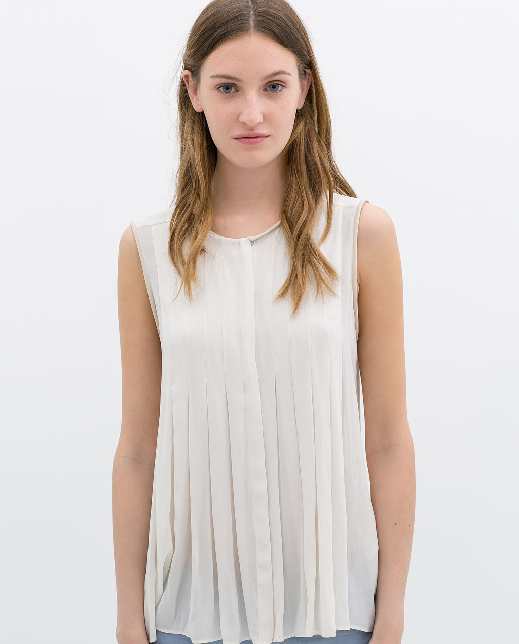 Fine Pleated Top With Faux Leather Piping - neckline: round neck; pattern: plain; sleeve style: sleeveless; style: blouse; waist detail: structured pleats at waist; predominant colour: white; occasions: casual, evening, creative work; length: standard; fibres: polyester/polyamide - 100%; fit: loose; sleeve length: sleeveless; texture group: sheer fabrics/chiffon/organza etc.; pattern type: fabric; season: s/s 2014