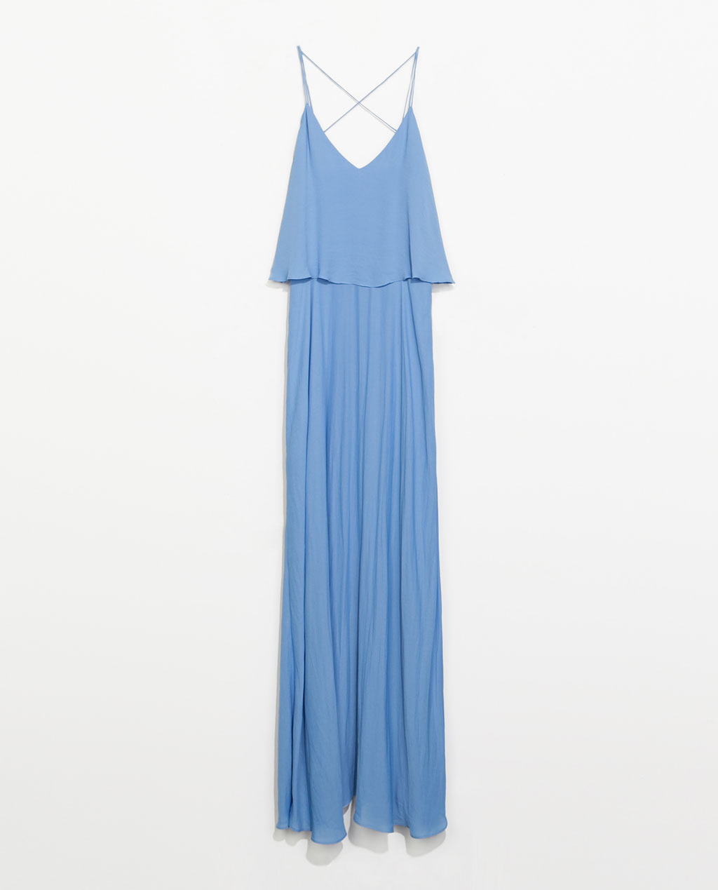 Long Dress With Low Back - neckline: low v-neck; sleeve style: spaghetti straps; fit: loose; pattern: plain; style: maxi dress; back detail: low cut/open back; predominant colour: pale blue; occasions: casual, evening, occasion, holiday; length: floor length; fibres: polyester/polyamide - 100%; hip detail: soft pleats at hip/draping at hip/flared at hip; sleeve length: sleeveless; texture group: sheer fabrics/chiffon/organza etc.; pattern type: fabric; trends: sorbet shades; season: s/s 2014