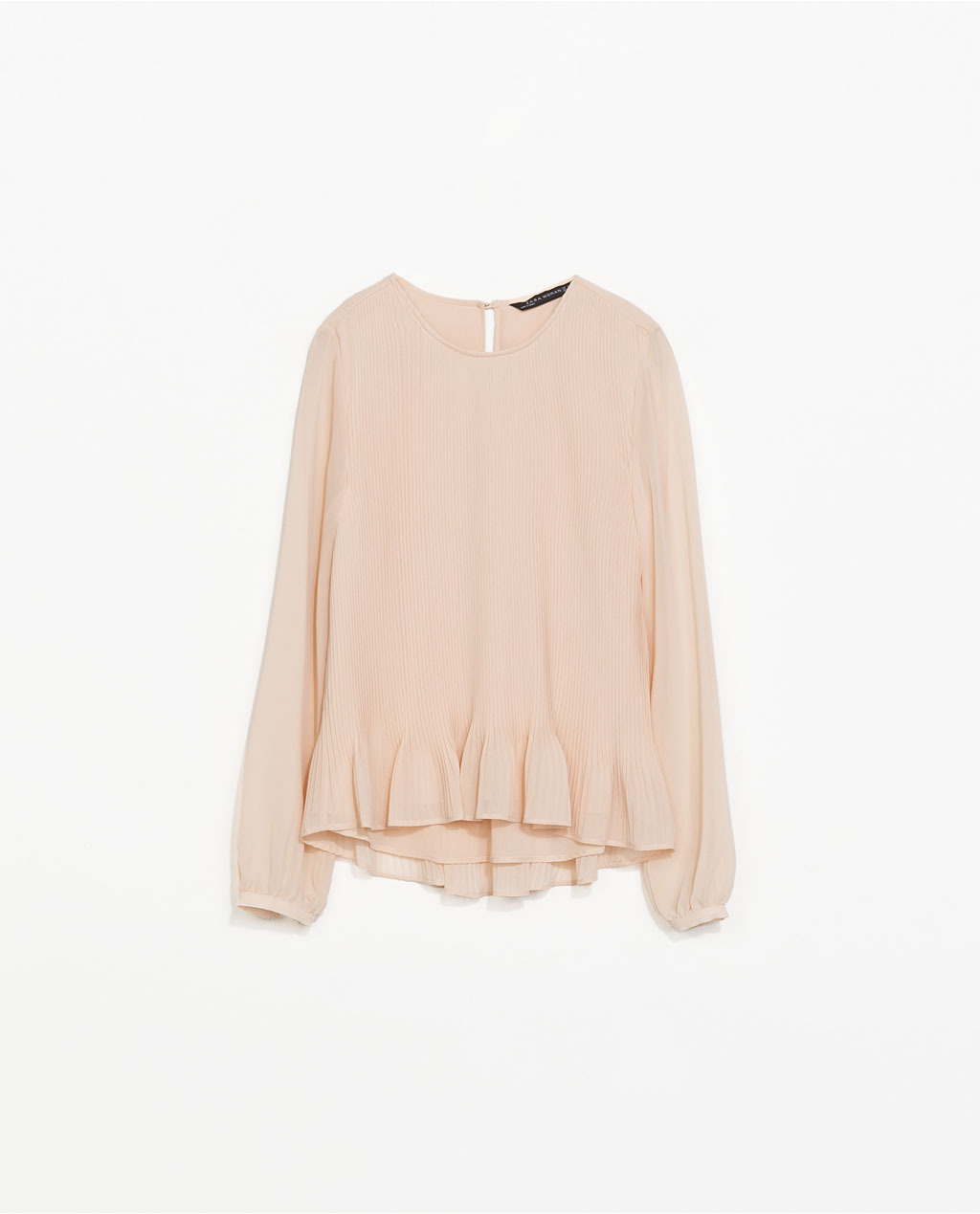 Fine Pleated Blouse - neckline: round neck; pattern: plain; sleeve style: balloon; style: blouse; predominant colour: blush; occasions: casual, evening, creative work; length: standard; fibres: polyester/polyamide - 100%; fit: loose; sleeve length: long sleeve; texture group: sheer fabrics/chiffon/organza etc.; bust detail: tiers/frills/bulky drapes/pleats; hip detail: ruffles/tiers/tie detail at hip; pattern type: fabric; trends: sorbet shades; season: s/s 2014