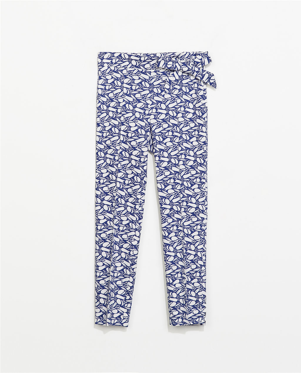 Printed Trousers With Bow Detail - waist: mid/regular rise; secondary colour: white; predominant colour: royal blue; occasions: casual, holiday, creative work; length: ankle length; fibres: cotton - stretch; texture group: cotton feel fabrics; fit: slim leg; pattern type: fabric; pattern: patterned/print; style: standard; embellishment: bow; season: s/s 2014; pattern size: big & busy (bottom); wardrobe: highlight; embellishment location: waist