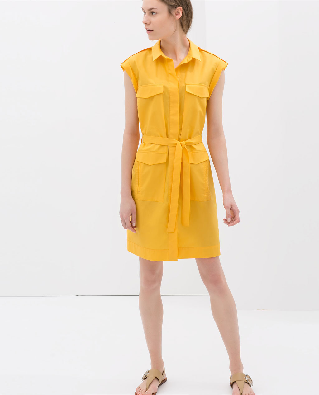 Poplin Dress With Belt - style: shirt; neckline: shirt collar/peter pan/zip with opening; sleeve style: capped; pattern: plain; hip detail: front pockets at hip; bust detail: pocket detail at bust; waist detail: belted waist/tie at waist/drawstring; predominant colour: mustard; occasions: casual, holiday, creative work; length: just above the knee; fit: body skimming; fibres: cotton - 100%; sleeve length: short sleeve; texture group: cotton feel fabrics; trends: hot brights, world traveller; season: s/s 2014