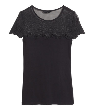 Lace Top - neckline: round neck; pattern: plain; style: t-shirt; shoulder detail: contrast pattern/fabric at shoulder; predominant colour: navy; occasions: casual, evening, creative work; length: standard; fibres: polyester/polyamide - stretch; fit: body skimming; sleeve length: short sleeve; sleeve style: standard; pattern type: fabric; texture group: jersey - stretchy/drapey; embellishment: lace; season: s/s 2014