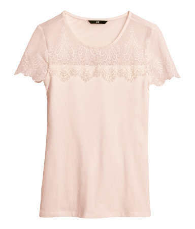 Lace Top - neckline: round neck; pattern: plain; style: t-shirt; shoulder detail: contrast pattern/fabric at shoulder; predominant colour: blush; occasions: casual, evening, holiday, creative work; length: standard; fibres: viscose/rayon - stretch; fit: body skimming; sleeve length: short sleeve; sleeve style: standard; pattern type: fabric; texture group: jersey - stretchy/drapey; embellishment: lace; trends: sorbet shades, lace; season: s/s 2014