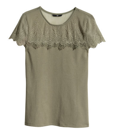 Lace Top - neckline: round neck; pattern: plain; style: t-shirt; shoulder detail: contrast pattern/fabric at shoulder; predominant colour: khaki; occasions: casual, evening, holiday, creative work; length: standard; fibres: polyester/polyamide - stretch; fit: body skimming; sleeve length: short sleeve; sleeve style: standard; pattern type: fabric; texture group: jersey - stretchy/drapey; embellishment: lace; season: s/s 2014