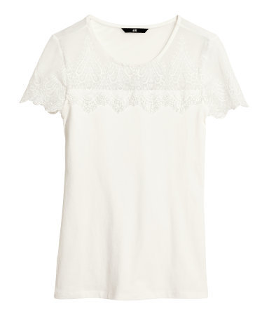 Lace Top - neckline: round neck; pattern: plain; style: t-shirt; shoulder detail: contrast pattern/fabric at shoulder; predominant colour: ivory/cream; occasions: casual, evening, holiday, creative work; length: standard; fibres: polyester/polyamide - stretch; fit: body skimming; sleeve length: short sleeve; sleeve style: standard; pattern type: fabric; texture group: jersey - stretchy/drapey; embellishment: lace; season: s/s 2014