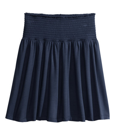 Jersey Skirt - length: mid thigh; pattern: plain; fit: loose/voluminous; waist detail: wide waistband/cummerbund; waist: high rise; predominant colour: navy; occasions: casual, work, holiday, creative work; style: mini skirt; fibres: viscose/rayon - stretch; hip detail: subtle/flattering hip detail; pattern type: fabric; texture group: jersey - stretchy/drapey; season: s/s 2014